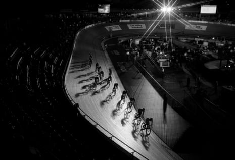 Riders on track at the Lee Valley velodrome