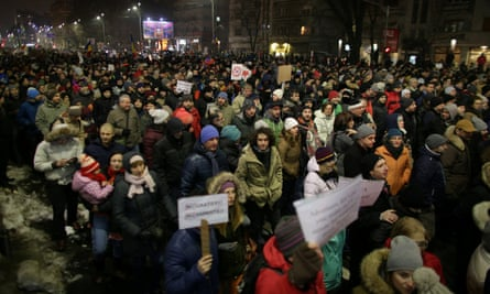 Protesters take part in a demonstration against government plans to grant prison pardons in Romania.