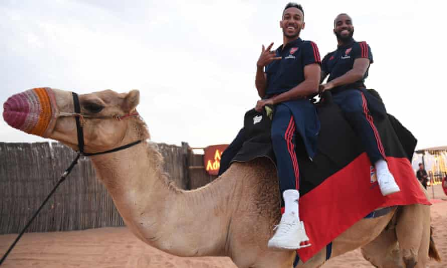 Pierre-Emerick Aubameyang and Alexandre Lacazette enjoy Arsenal's winter break in Dubai.