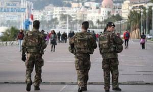Soldiers on patrol in Nice