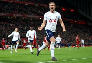 Harry Kane celebrates after scoring the second equaliser from the penalty spot, his 100th Premier League goal.