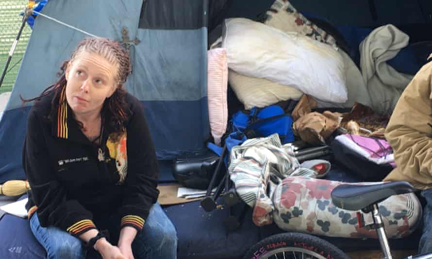 Jodie Coombes, 39, is among the homeless men and women who lived in a gathering of more than 200 tents, and were given 72 hours to depart.