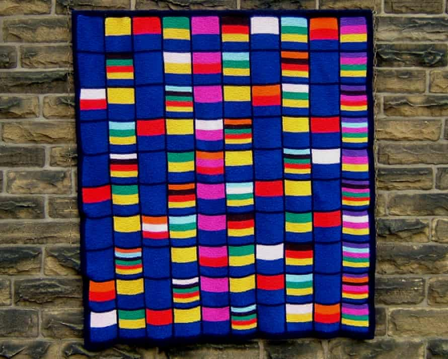 Counting Pane: a grid of the numbers from 1 to 100. Each number cell contains the colours of the numbers from 1 to 10 that divide it, with 1 being blue, 2 being yellow, 3 red, and so on. So 12, which is divisible by 1, 2, 3, 4 and 6 has the colours of blue, yellow, red, green and black. A copy of this was sold to the Science Museum.