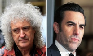 Brian May (left) denied claims by Sacha Baron Cohen (right) that the group wanted to sugarcoat Freddie Mercury's story