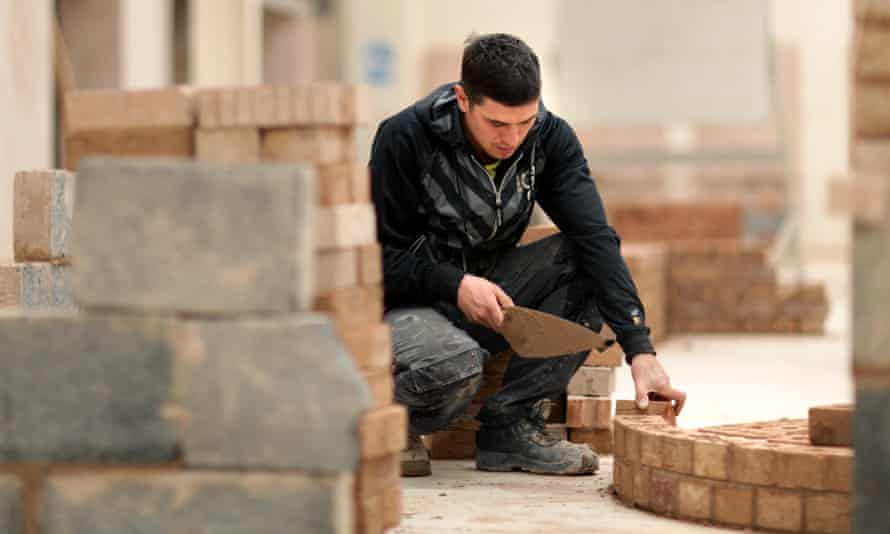 Student on a bricklaying course for 14- to 16-year-olds at a college in Scunthorpe