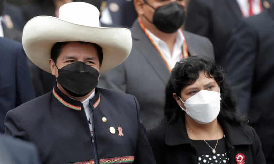 The newly elected president of Peru, Pedro Castillo, with his wife, Lilia Paredes, in Lima.