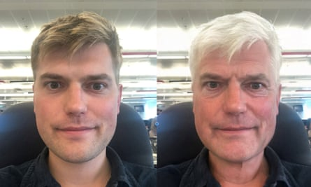 Composite image showing the effect of FaceApp's ageing filter.