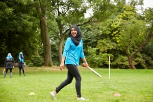 Sabina Chaus of the Batley Ninjas rounders team in West Yorkshire
