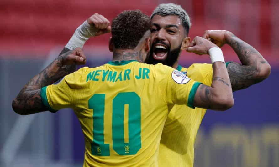 Gabriel Barbosa celebrates Brazil's third goal with Neymar in Brasilia.