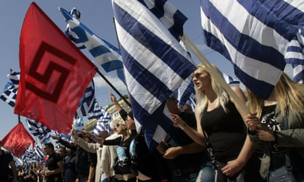 Supporters of the far-right Golden Dawn party protest outside the Greek parliament in Athens.