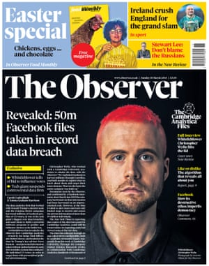 The Observer front page, Sunday 18 March 2018.