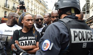 Assa Traoré protesting death in custody brother Adama