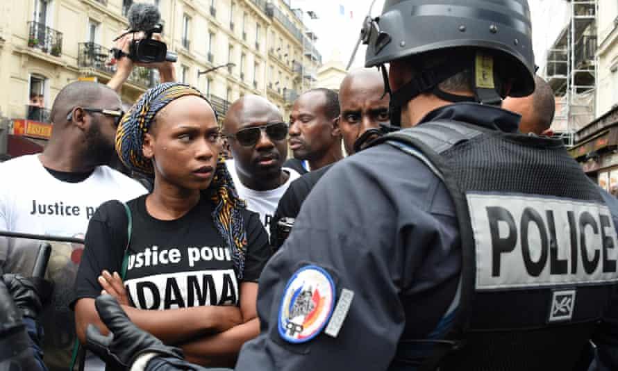 Assa Traoré protesting death in custody brother Adama