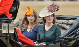 Princess Beatrice and Princess Eugenie arrive at Horse Guards Parade for the ceremony