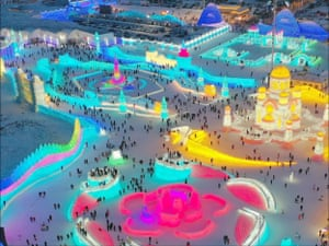 The 22nd Harbin Ice and Snow World opens officially, showing ice and snow wonders to tourists from all over the world in Songbei district, northeast China's Heilongjiang province