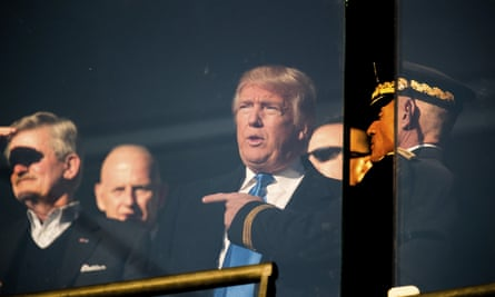 President-elect Donald Trump in a box in the stands during the Army-Navy college football in Baltimore.