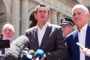 The Melbourne lord mayor, Robert Doyle, the Victorian premier, Daniel Andrews, and the prime minister, Malcolm Turnbull, at the scene of the Bourke Street mall attack