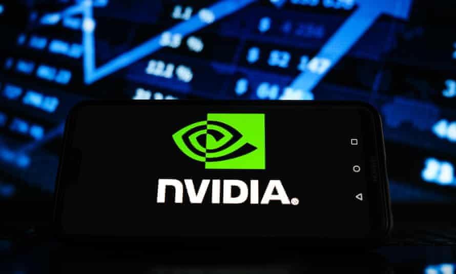 Photo illustration of a Nvidia logo displayed on a smartphone screen with stock market graphic in the background.