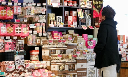 Valentine chocolates on display outside a department store in Toyo. Women in Japan are sick of having to give male colleagues chocolate on Valentine's Day