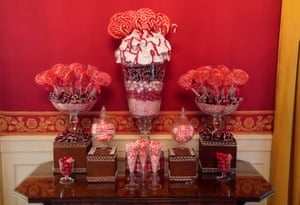 Christmas candy on display in the red room