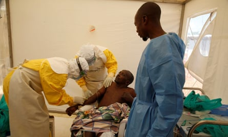 An Ebola patient is treated in Beni, in the north-east of the Democratic Republic of the Congo.