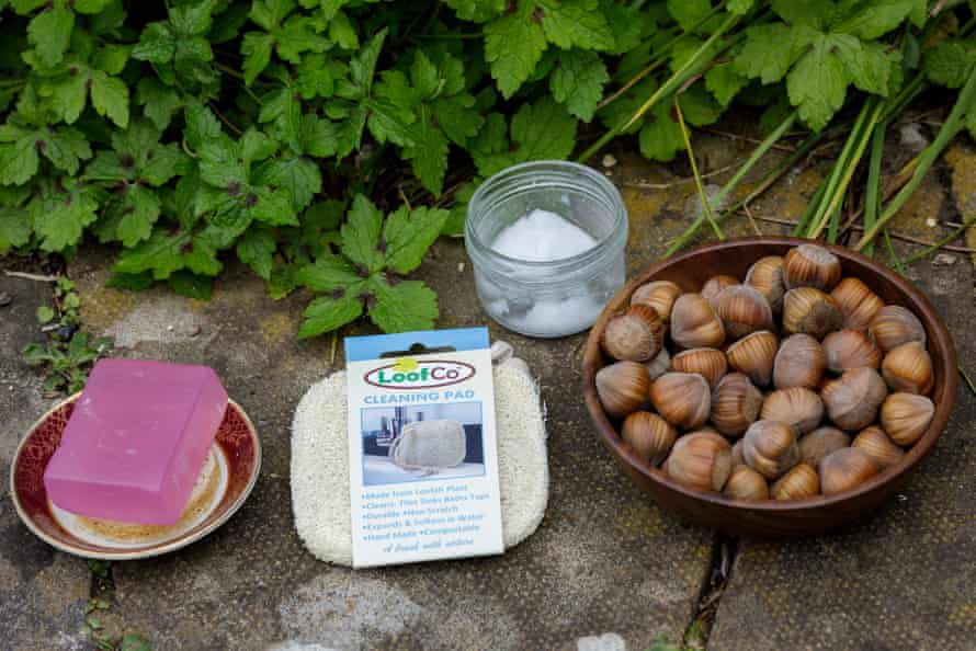 Homemade toothpaste, soap and reusable, compostable scourer – and hazelnuts from Cate Cody's garden.