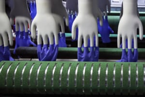 Blue disposable gloves are manufactured