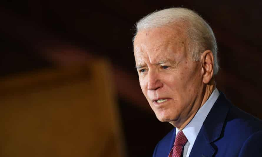 Joe Biden speaks during a campaign stop in Flint, Michigan, on 9 March.