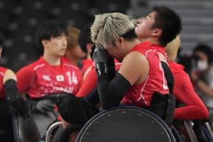 Japan's Hitoshi Ogawa cries after Britain defeated Japan in a semifinal wheelchair rugby match