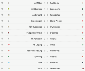 Full-time results in the Europa League.
