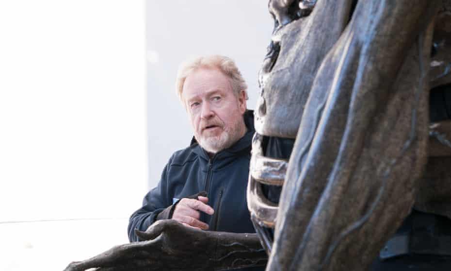 Ridley Scott on the set of Alien: Covenant.