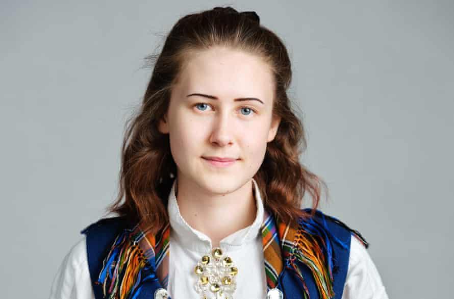 Hedda Frøland, a humanist, in traditional Norwegian dress