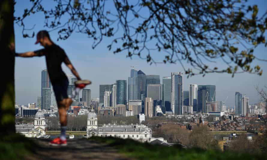 Canary Wharf and London's financial district.