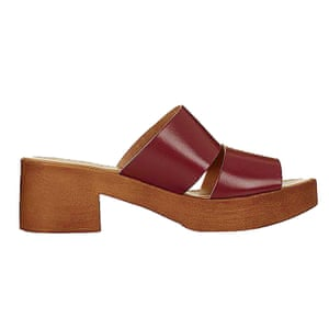 maroon two strapped mules Topshop