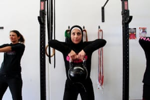 Sarah Alameddine participates in a class at Dolly's Bootcamp in Sydney, Australia