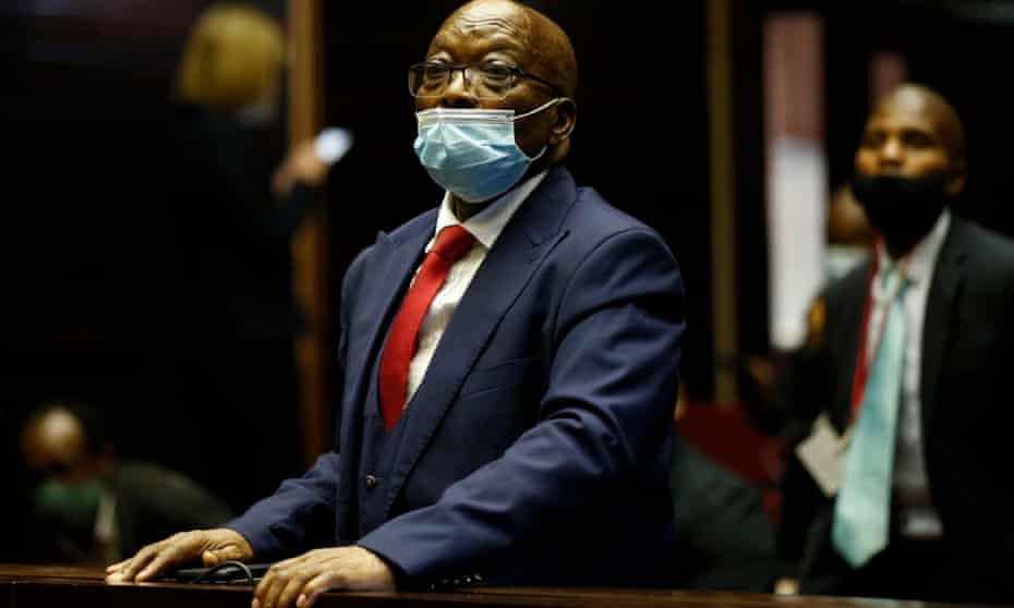 Jacob Zuma appears in court during his corruption trial in Pietermaritzburg, South Africa.