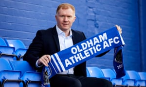 Paul Scholes is presented as the new manager of Oldham at Boundary Park.