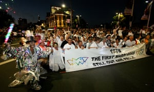 The first Mardi Gras marchers from 1978 at the 30th march in Sydney, Saturday in 2008.