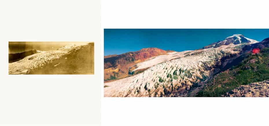 Mount Baker, 2014, from series Imperfect Atlas, by Peter Funch. Danish artist Funch uses old tourist postcards and historic photos as source material for his series Imperfect Atlas. In this case the images are recreations of vintage postcards of Mount Baker [in Washington state, US] found on eBay