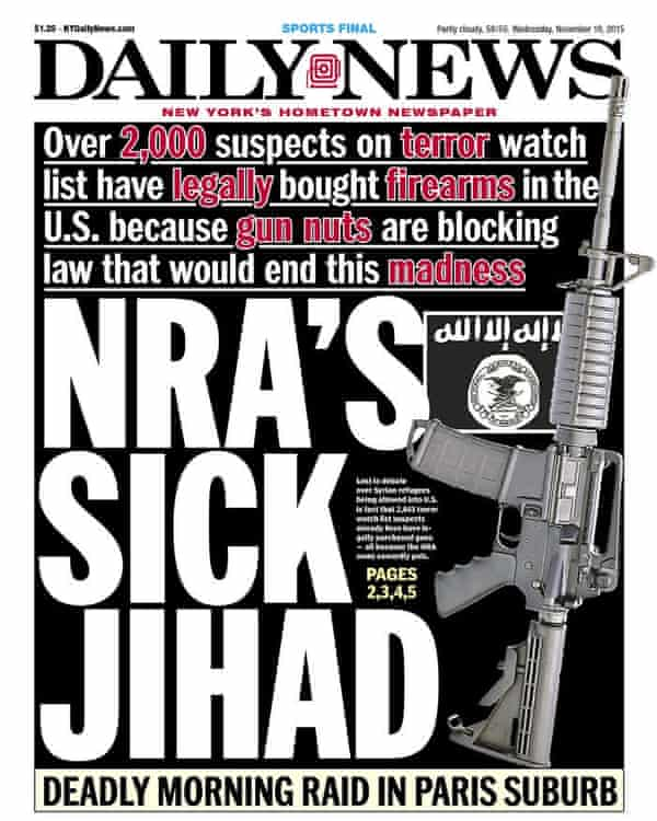 The New York Daily News cover on Wednesday 18 November.