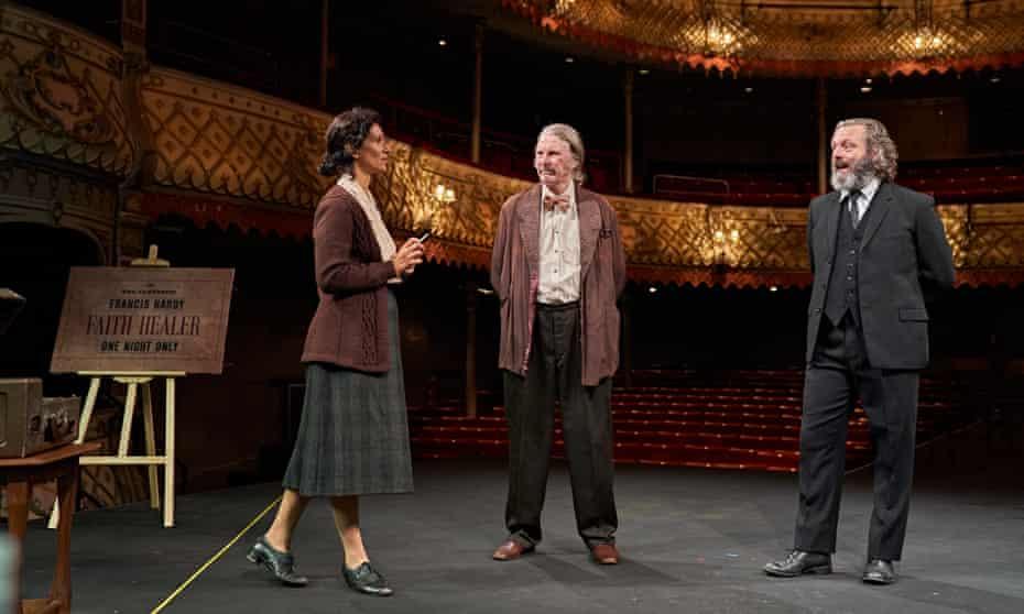 Indira Varma, David Threlfall and Michael Sheen in Faith Healer.