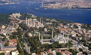 Aerial of historical Istanbul.