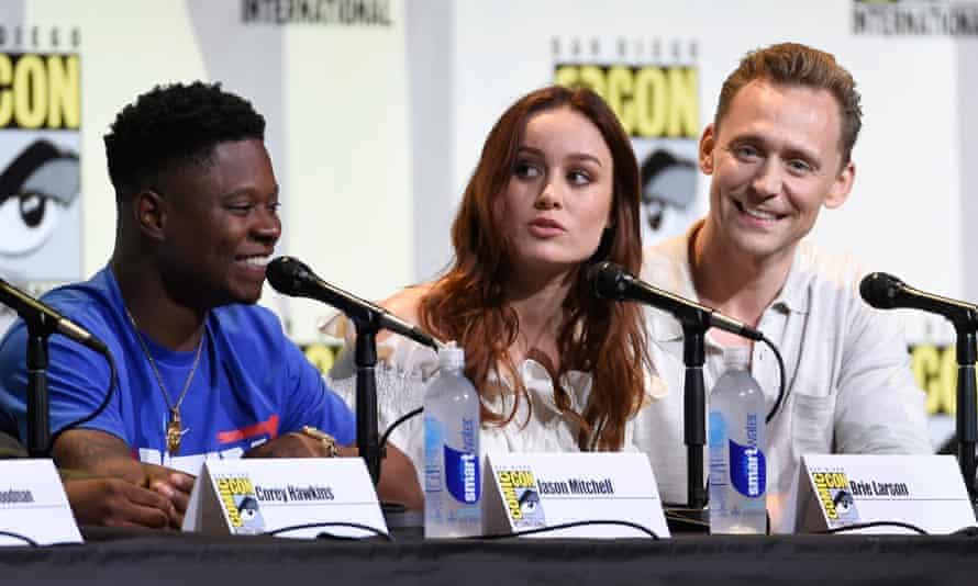 Jason Mitchell, Brie Larson and Tom Hiddleston at the Kong: Skull Island panel at Comic-Con International.