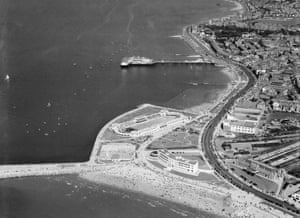 The Midland hotel, swimming stadium and Central pier, Morecambe, 1949
