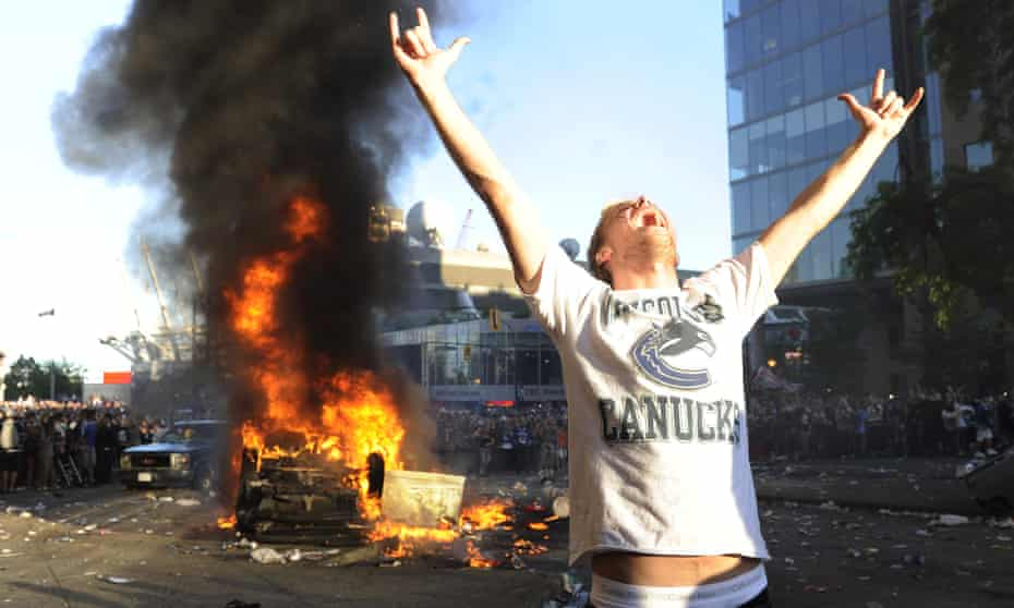 A fan yells during a riot in Vancouver after the Canucks lost the 2011 Stanley Cup final to the Boston Bruins.
