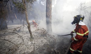 A firefighter tackles a blaze at the Castelfusano pine forest near Rome