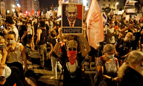 'Enough of you': thousands protest in call for Netanyahu to resign – video