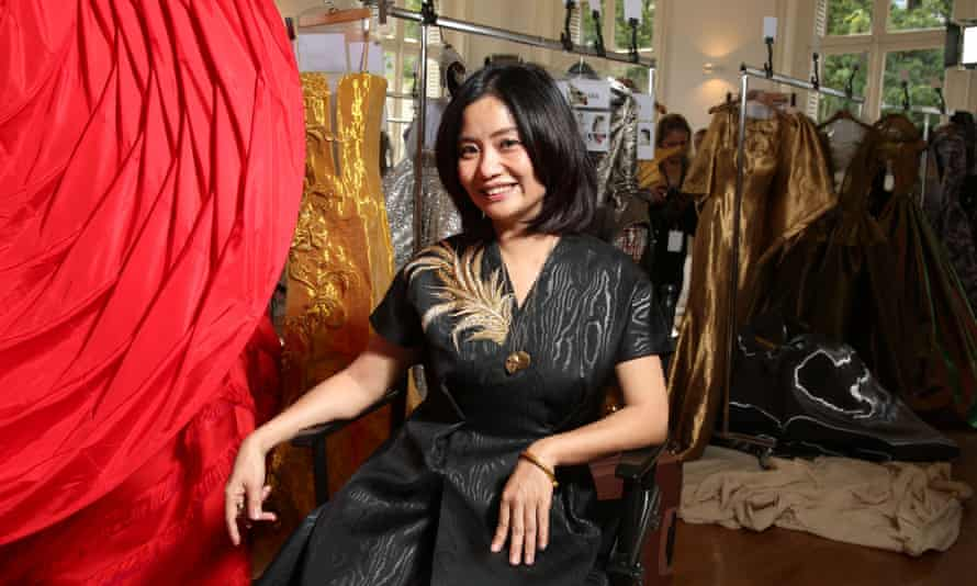 Guo Pei backstage at Haute couture fashion week, Paris, 2017.
