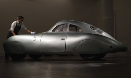 The 1939 Porsche Type 64 on display in London in May