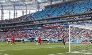 Jesse Lingard beats Panama's goalkeeper Jaime Penedo for one of England's six goals.